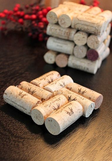 What to do with the corks from one of our favorite things (wine)?  Make coasters, of course!   A little hot glue and you have one inexpensive and easy holiday gift.  The girl that made these also hot glued corks to magnets to make wine cork magnets.