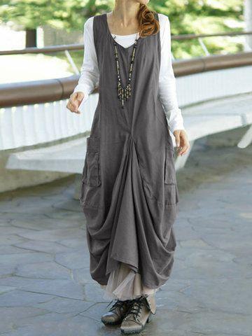 b9038eaa59 ZANZEA Vintage Women Sleeveless Pockets High Low Pure Color Maxi Dresses  Online - NewChic Mobile