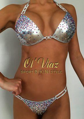 Silver Metallic Spandex Bikini Suit with ORIGINAL Swarovski Crystals/Competition Suit/Posing Suit/Rhinestone Fitness