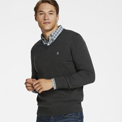 Timberland Men's Williams River V-Neck Sweater Dark Charcoal Heather