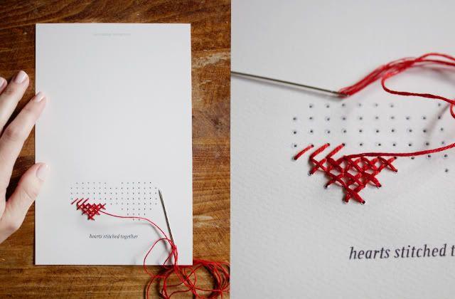 Открытка с вышитыми сердцами, открыток своими руками