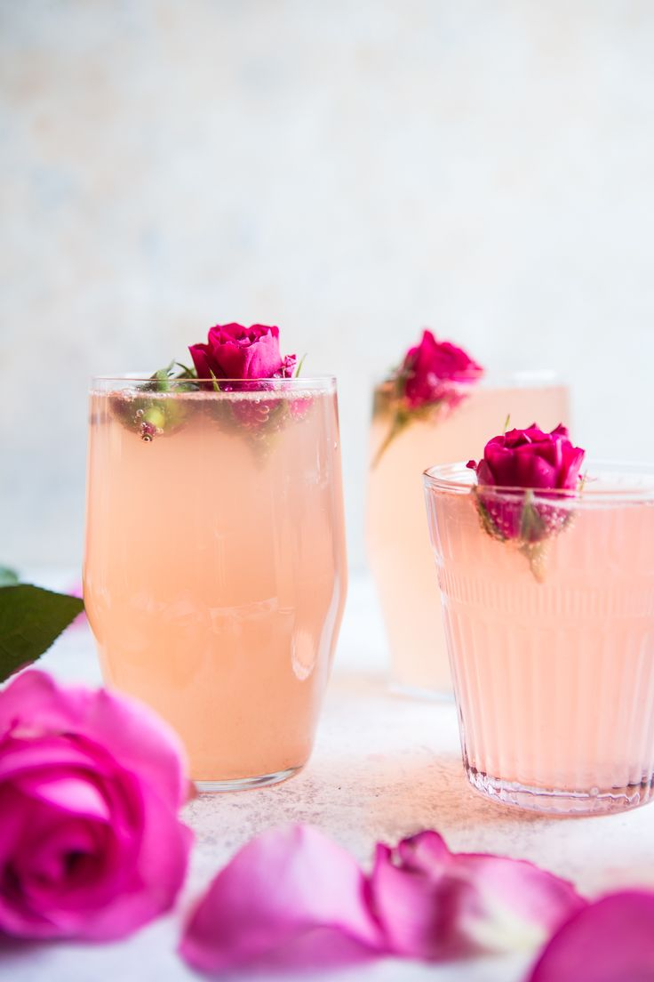 Pretty pink bridal shower cocktail idea - Rose Lemon Spritzer