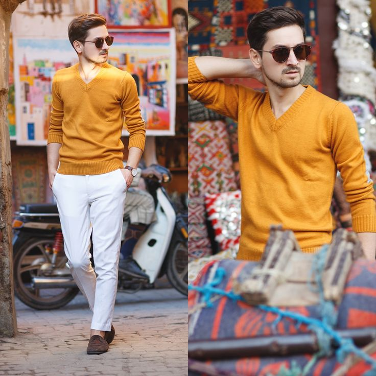 Blog post: http://themysteriousgirl.ro/2015/12/marrakech-streets/  mustard sweater white pants chinos classic loafers brown watch daniel wellington asos alcott zerouv sunglasses