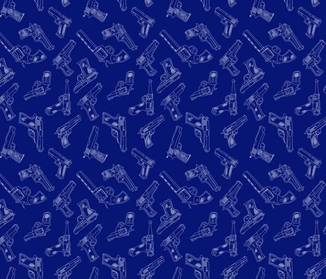 Welcome To My Gun Show - Blue fabric by lauramarshdesigns on Spoonflower - custom fabric