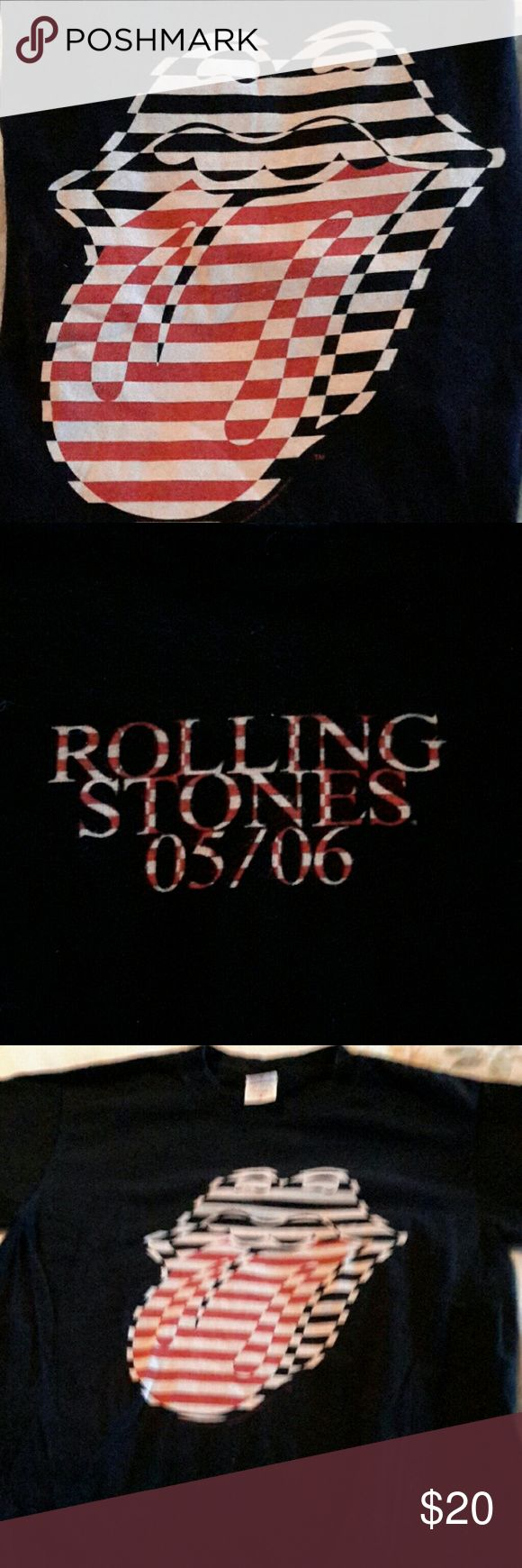 Black Rolling Stones Tongue Concert Tee 05/06 S Excellent condition Rolling Stones Concert Tee from 2006.  Black Unisex  Size small- tongue and lips front  Date on back. Tops Tees - Short Sleeve