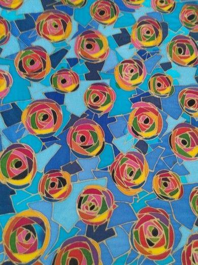 Rose in blue pattern