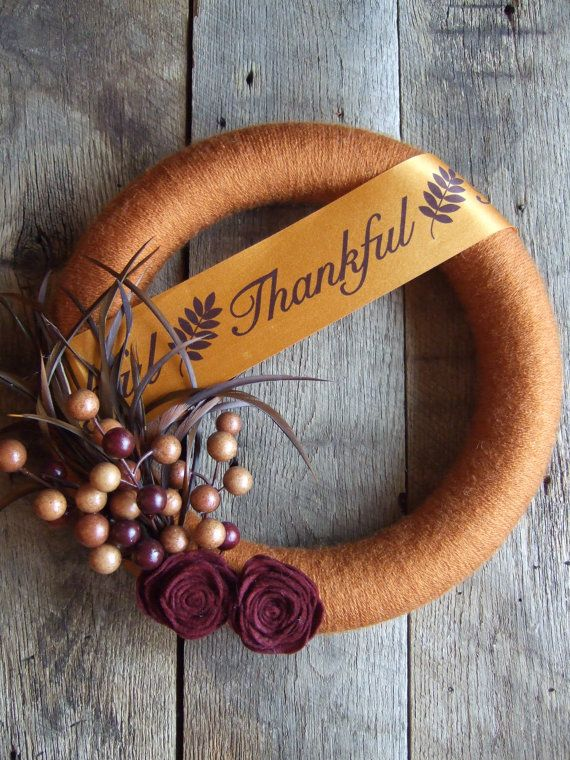 Fall Yarn Wreath with felt flowers berries by katiejocollections