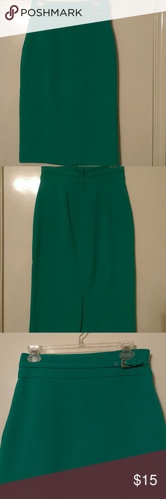 Women's Green Pencil Skirt Women's New York & Co. Green Pencil Skirt. Skirt is belted with a back split. Skirt is in excellent condition. New York & Company Skirts Pencil