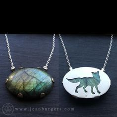 Fox Labradorite Pendant - Handcut sterling silver and labradorite - Spirit Animal Series