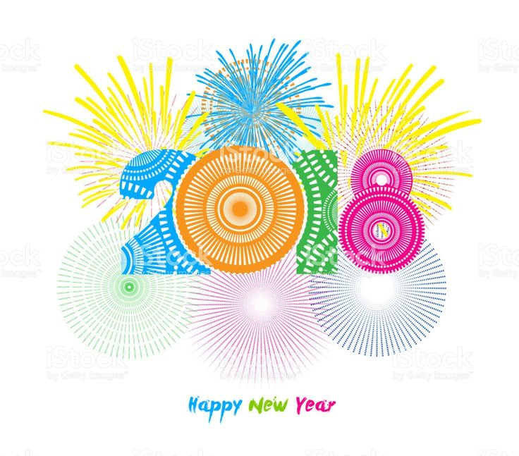 Fireworks display for happy new year 2018 royalty-free stock vector art
