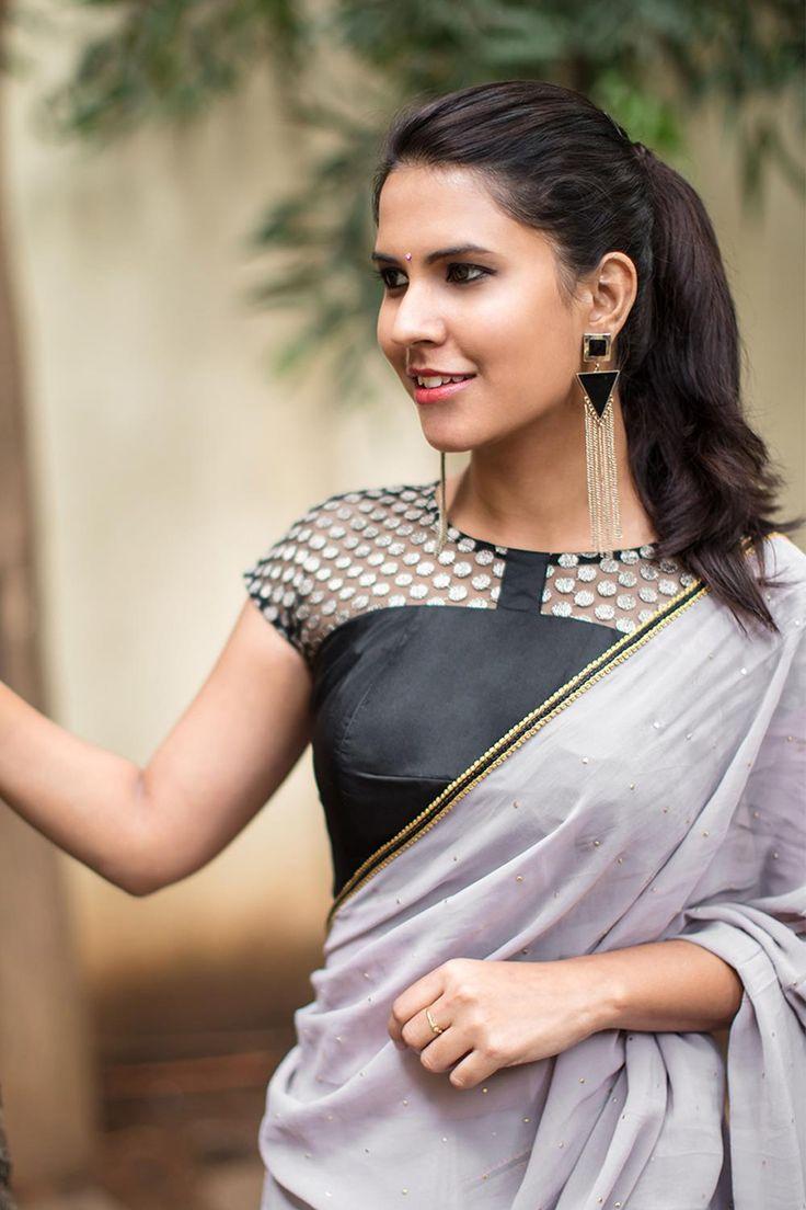 Black polka net sheer yoke blouse  #blouse #houseofblouse #saree #desi #indianwear #polka #sheer #silk #black