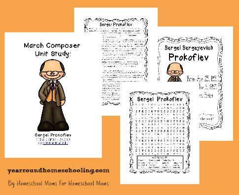 April Composer Study ~ Sergei Prokofiev {printable pack} - Year Round Homeschooling