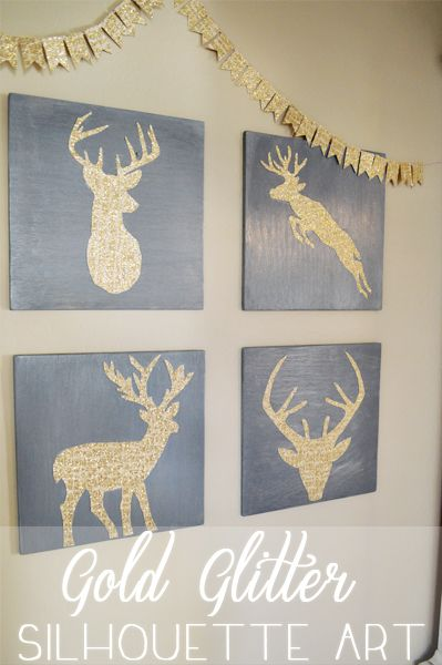 Easy DIY gold glitter deer head silhouette art!  #christmas #decor #deer #silhouette #3MDIY