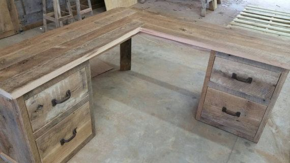 Reclaimed Barn Wood Corner Desk FREE SHIPPING by timelessjourney