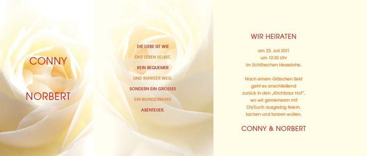 Seite 5, 6 und 1. Die Besonderheit steckt bei diesen Hochzeitseinladungen im Detail. Die Falz sichert viel Platz für Hochzeitseinladungstexte und besondere Eleganz