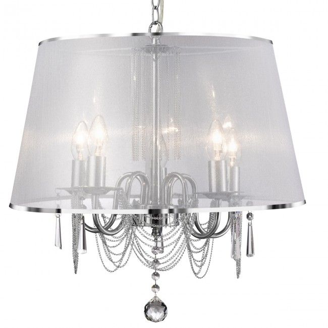 Venetian Chrome 5 Light Fitting With White Viole Shade & Chain Link
