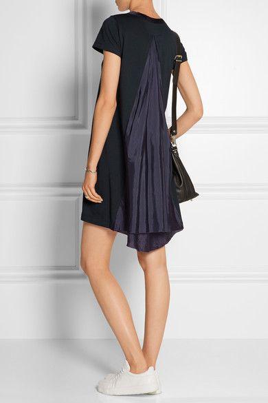 Sacai   Sacai Luck cotton-jersey and satin mini dress   NET-A-PORTER.COM