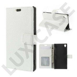 Hjorth (Hvid) Sony Xperia Z3 Ægte Læder Flip Etui