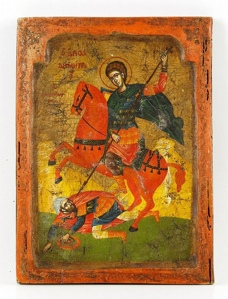 """Early Russian icon, painted wood, depicting St. Demetrios, 12""""h x 8 3/4""""w."""