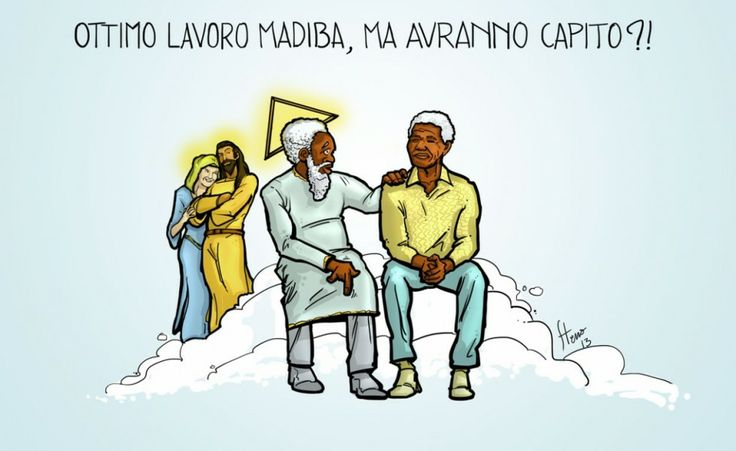 Mandela in Paradiso. La vignetta di Stefano Franceschini per The Post Internazionale.