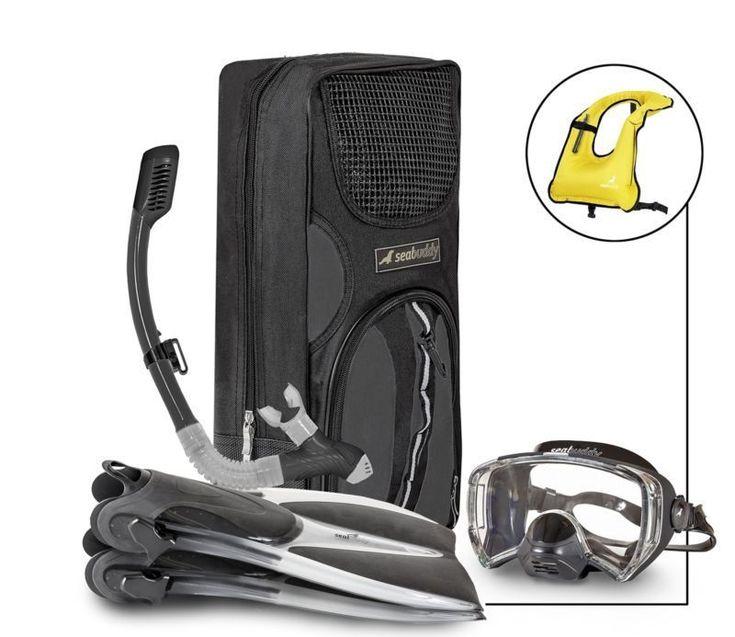 Sealbuddy Fiji Panoramic Snorkel Set + Premium Travel Gear Bag ( Transparent/Bla