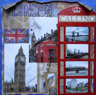 London-themed scrapbook page. Could probably inspire you to make pages for other travel destinations.     Comes from an awesome scrapbooking blog.