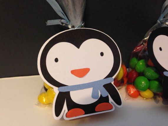 Blue Penguin ONEderland Birthday Party Favor Tag ~ Winter Wonderland Party ~ Boys First Birthday