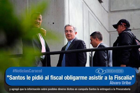 """""""No tengo garantías en la Fiscalía"""": #Uribe  El senador electo afirmó, tras asistir al ente investigador para hablar sobre las denuncias contra Santos, que entregará las pruebas a la Procuraduría. http://www.noticiascaracol.com/nacion/video-323396-no-tengo-garantias-la-fiscalia-uribe"""