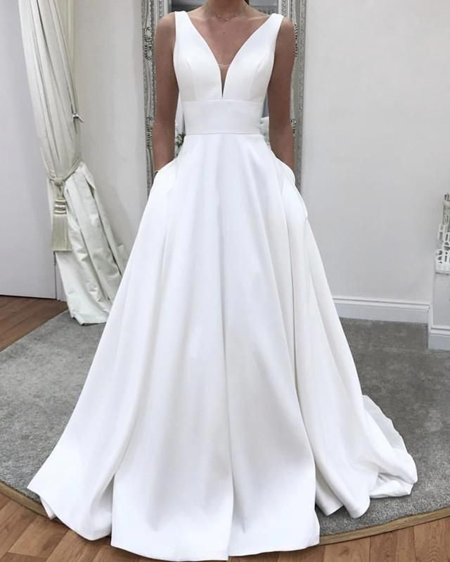 Simple Wedding Dresses A Line V Neck Satin Gown – alinanova #jcrewweddingdress