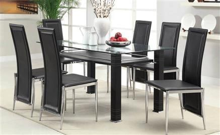 Riggan Chrome Black Glass Dining Table 10mm Clear Glass Top