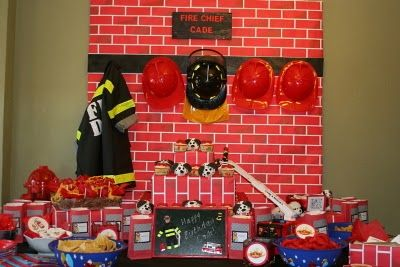 Fireman PartyCupcake Stands, Birthday Parties, Fireman Parties, Google Search, Fire Fighter, Parties Tables, Fireman Party, Photo Backdrops, Cupcakes Stands