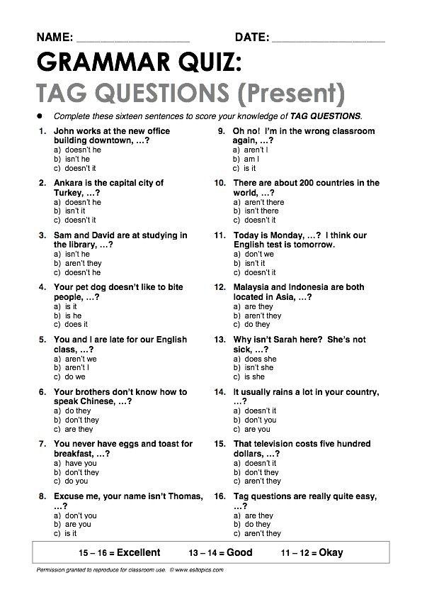 Tag Questions(Present) Grammar Quiz