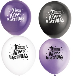 Justin Bieber Balloons. There are 8 per package. Latex.