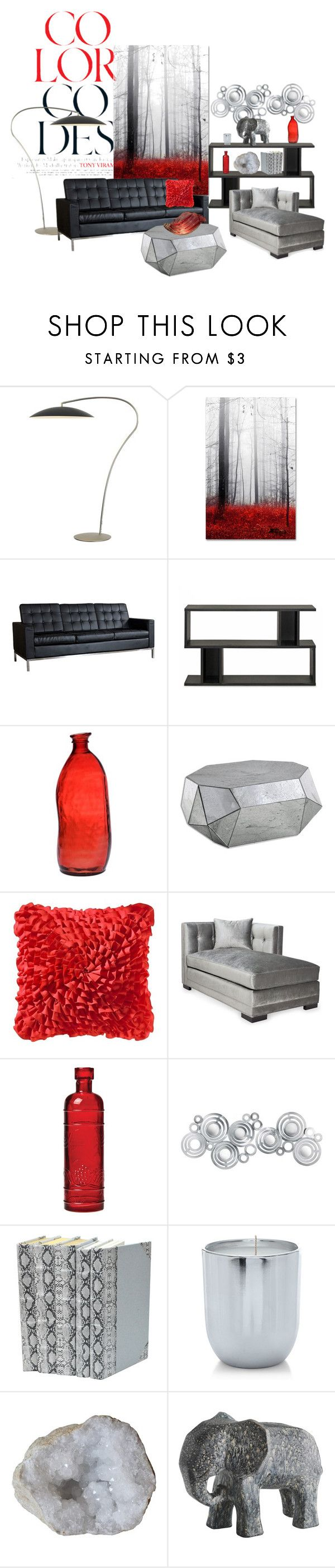"""Black, Grey and Red Living Room"" by rubberchicken-queen ❤ liked on Polyvore featuring interior, interiors, interior design, home, home decor, interior decorating, CB2, Trademark Fine Art, Dot & Bo and Baxton Studio"