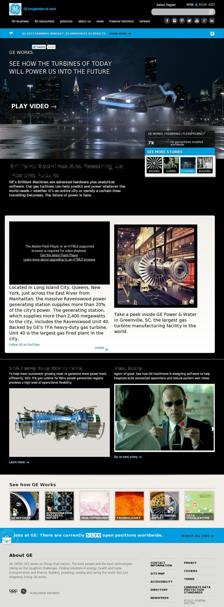 The website 'http://www.ge.com/' courtesy of @Pinstamatic (http://pinstamatic.com)