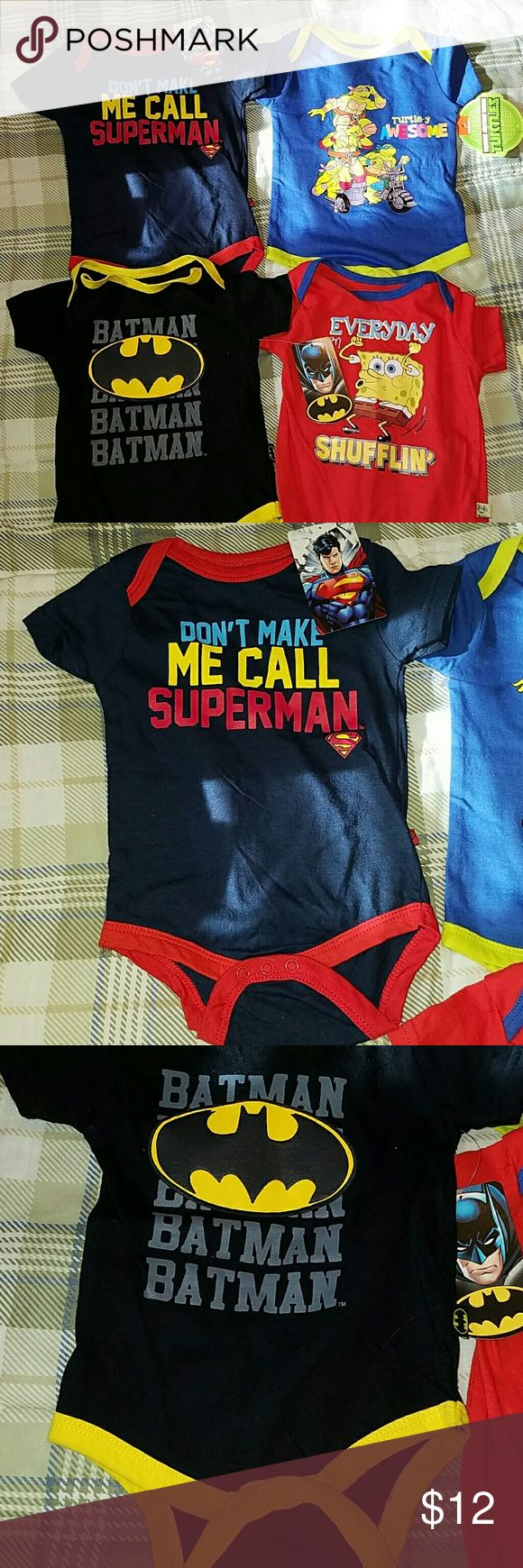 Superman/Batman/Turtles/SpongeBob Onesies Bundle NWT Superman/ Batman/ Turtles/ SpongeBob Onesies Bundle! Size 6/9 months...two of the onesies seem like the pictures/sewing is crooked...batman onesies looks like snap placed too close to the edge (pictured)...tag came off of superman onesie but I still have it to include...all are new and unused...too small for my son! They are adorable!  Ask with questions...reasonable offers considered! :-) One Pieces Bodysuits