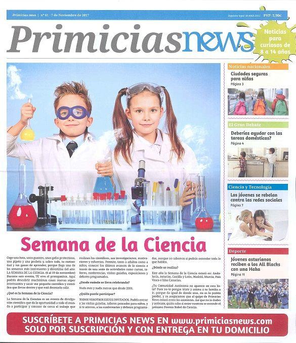 """JUVENIL. """"Primicias News"""". Noticias para curiosos de 7 a 14 años.  Periódico bilingüe para niños y jóvenes, este periódico nace con el objetivo de tenerles informados y a la última sobre el mundo en el que vivimos. Plasmamos en nuestras noticias lo que pasa en el mundo con sensibilidad y rigor, y las ajustamos a los conocimientos de nuestros jóvenes lectores de entre 7 y 14 años."""