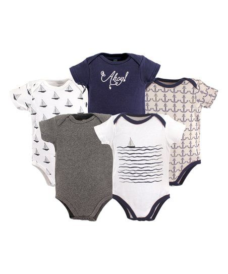 Hudson Baby Navy & White Sailboat Bodysuit Set - Infant | zulily