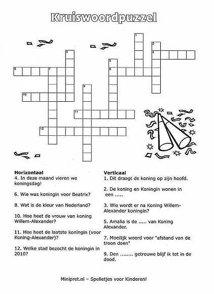Kruiswoordpuzzel, thema : Nederland, minipret