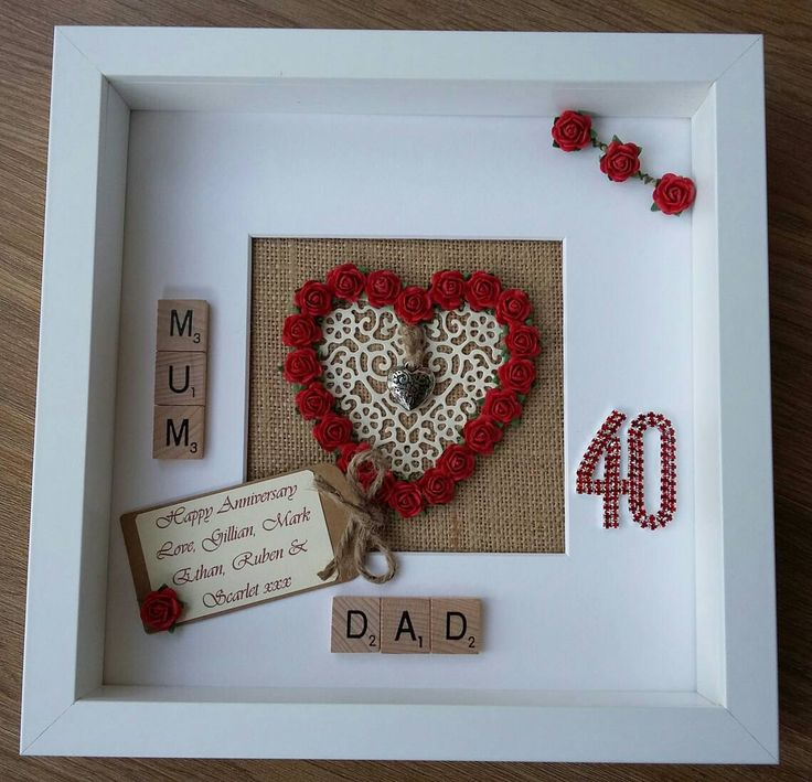 Ruby Wedding Gift For Parents : ... Gifts for wedding anniversary, Paper anniversary gift ideas and