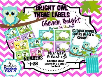 These labels are now EDITABLE! There are 5 different colored owls and chevron backgrounds represented (pink, purple, yellow, green,blue). Number labels include numbers from 1 to 28 and can be used to label student cubbies, lockers, desks, book boxes, etc.