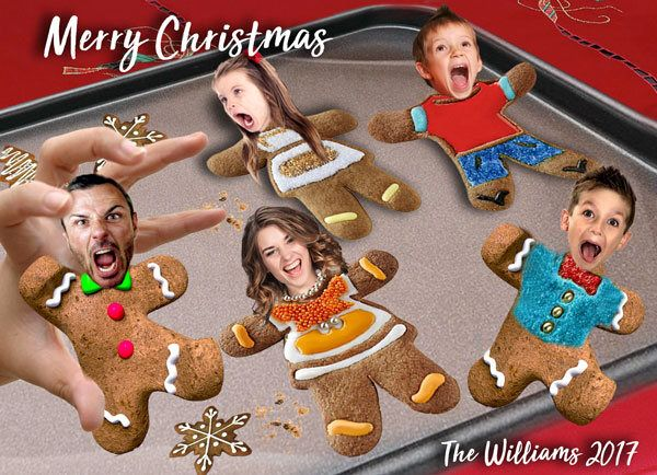 Scared Gingerbread men Christmas Card, Caricature Gingerbread cookies, Funny Family portrait Christmas card,Gingerbread Cookie Scare Holiday by PhotoFunCreations on Etsy https://www.etsy.com/ca/listing/558979884/scared-gingerbread-men-christmas-card
