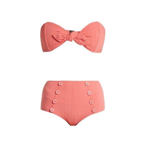 Lisa Marie Fernandez Poppy high-rise bikini ($390) ❤ liked on Polyvore featuring swimwear, bikinis, pink, retro bikini, bikini two piece, retro high waisted bikini, pink bandeau bikini top and high rise bikini