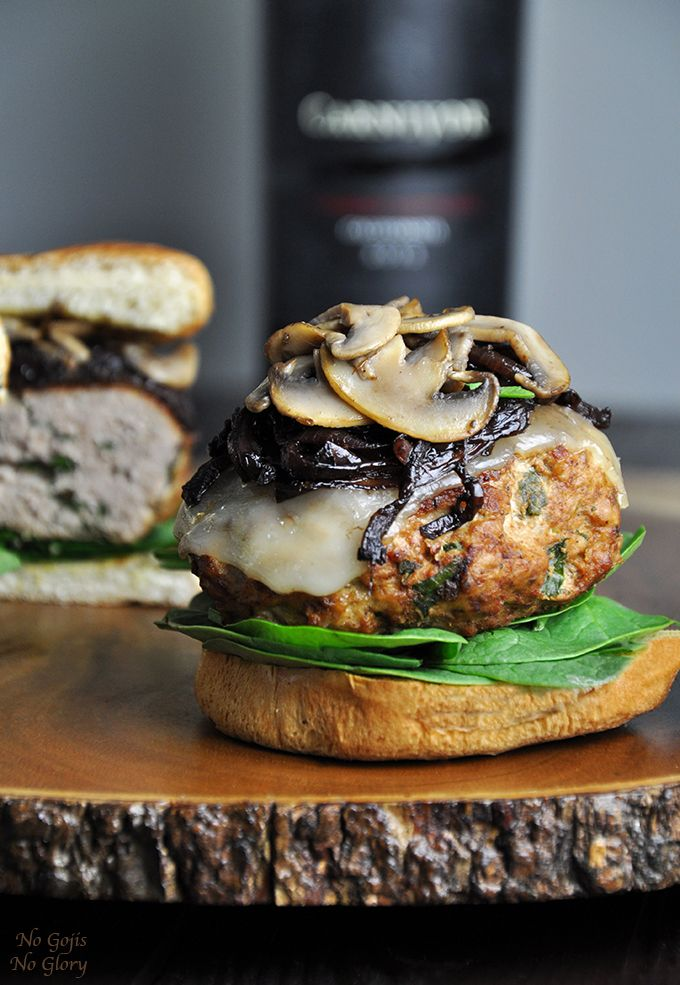 A healthy alternative to a beef burger, but every bit as tasty. This turkey burger is topped with wine infused caramelized onions and sautéed mushrooms.