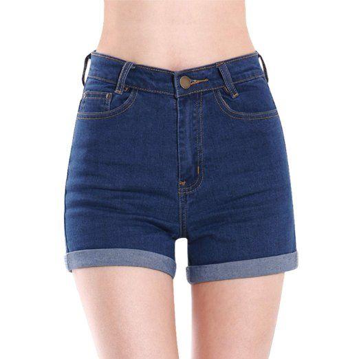 Donne Jeans vita alta Hotpants elastici pantaloncini Denim ( Blu Scuro EU S )