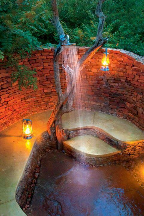 Sweet outdoor shower. Head shower Cold or warm water's weather feel's outside. It will be under treehouse's Log houses