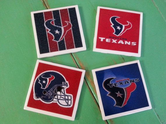 Check out this item in my Etsy shop https://www.etsy.com/listing/241137665/houston-texans-ceramic-coasters-set-of-4