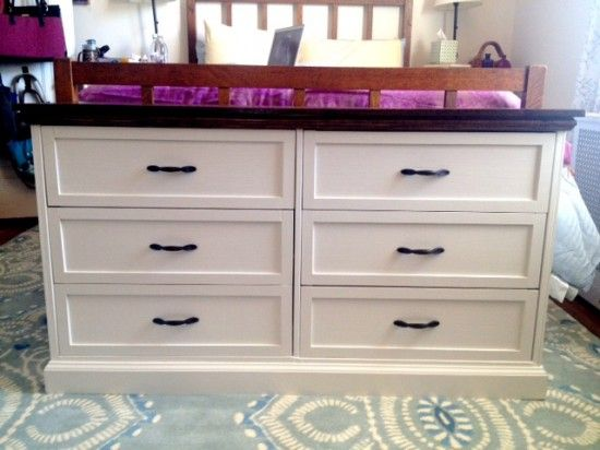 This is amazing!! Put two IKEA Rast dressers together to make one large dresser. An almost unrecognizable hack.