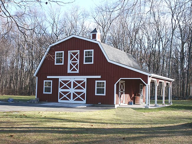 Barn Roof | Custom Barn with Gambrel roof, 10' wide overhang and loft. This barn ...