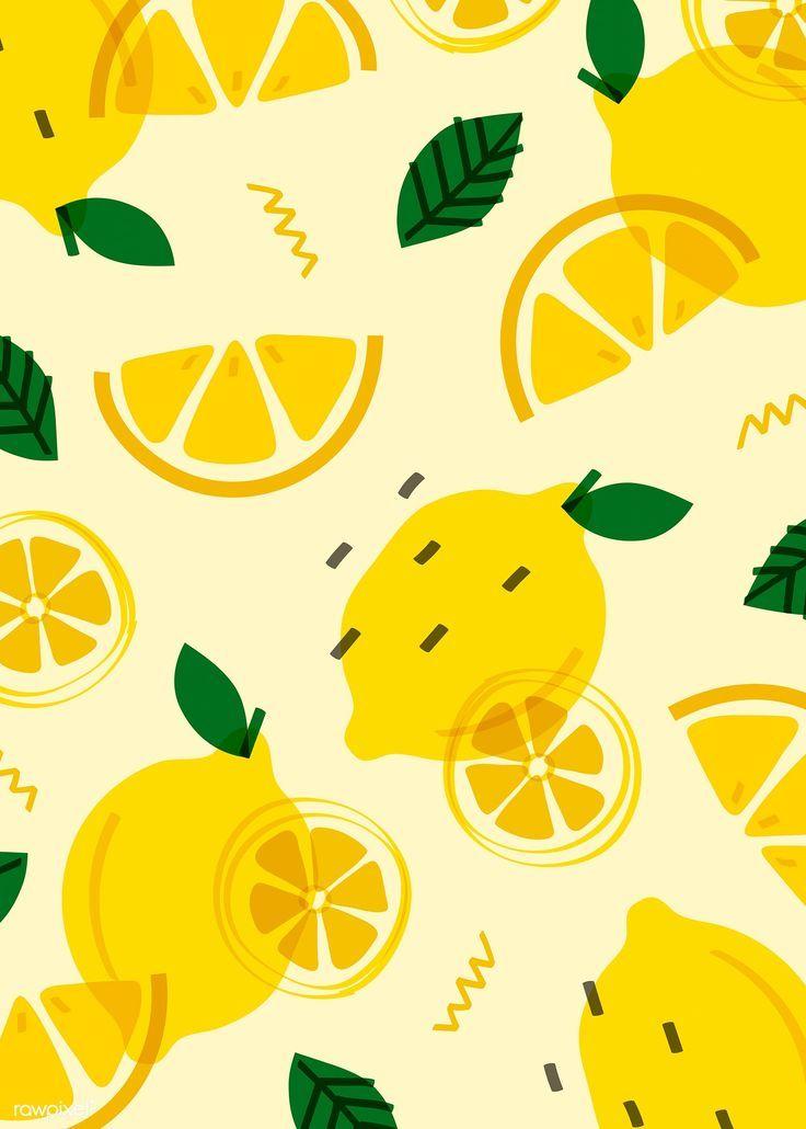 Summer lemon fruit pattern vector